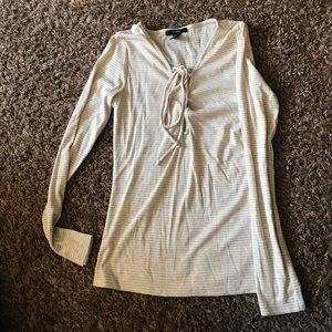 Long sleeve crisscross front